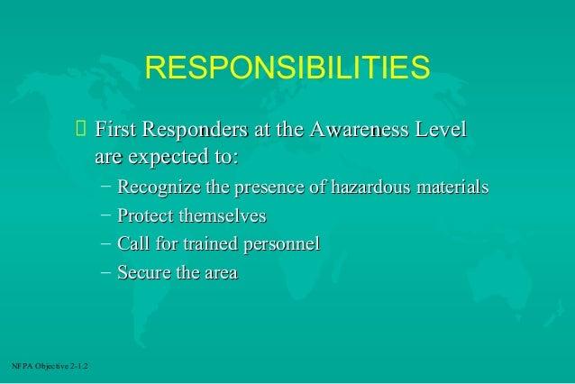 Hazmat first responder responsibilities
