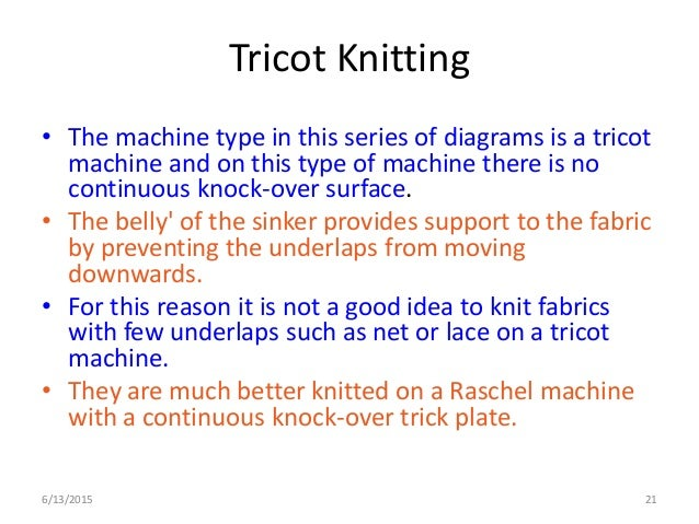 Tricot Knit Structure 6/13/2015 21 Tricot Knitting