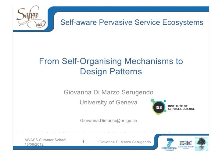 From Self-Organising Mechanisms to Design Patterns
