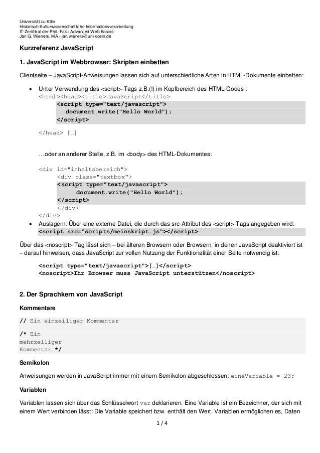 Universität zu Köln Historisch-Kulturwissenschaftliche Informationsverarbeitung IT-Zertifikat der Phil.-Fak.: Advanced Web...