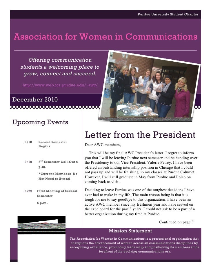 Purdue University Student ChapterAssociation for Women in Communications     Offering communication  students a welcoming ...