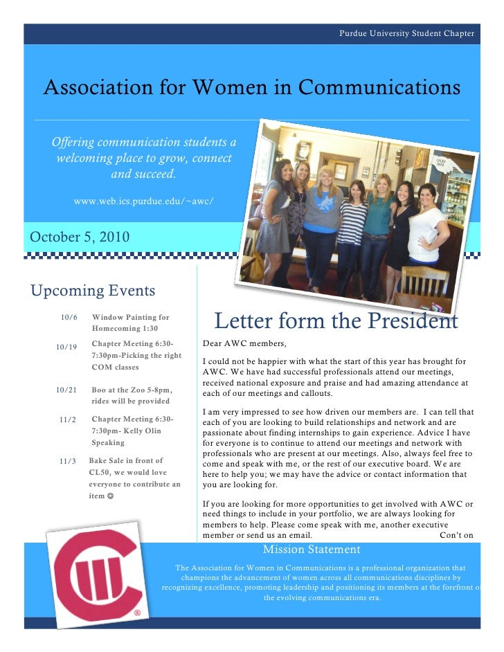 Purdue University Student Chapter  Association for Women in Communications   Offering communication students a    welcomin...