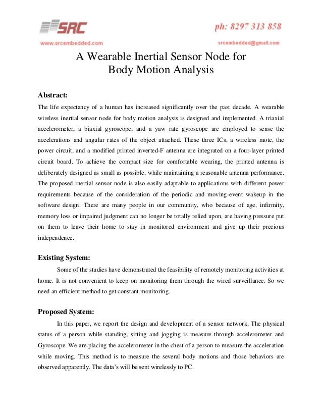 A wearable inertial sensor node for body motion analysis