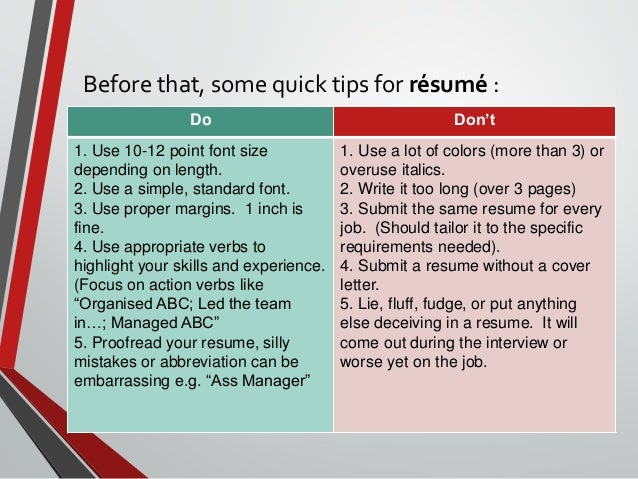 dos and donts of resumes