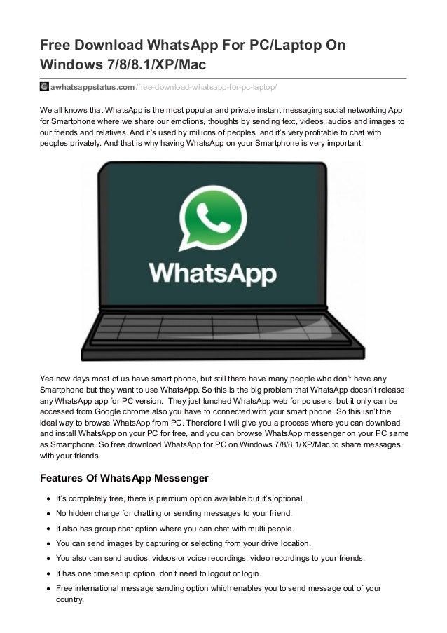 Free Whatsapp In Laptop