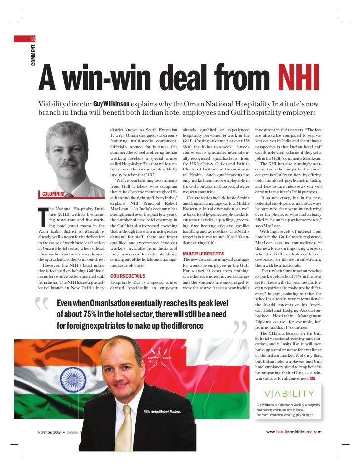 18COMMENT          A win-win deal from NHI          Viability director Guy Wilkinson explains why the Oman National Hospit...