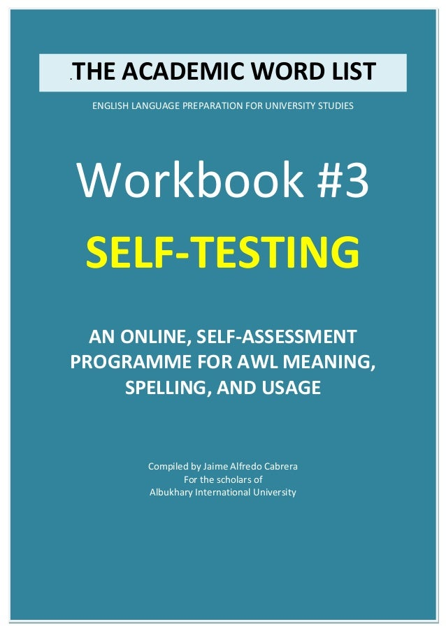 AWL Academic Word List - Workbook 03: Guided Self-Testing for Pre-University Students