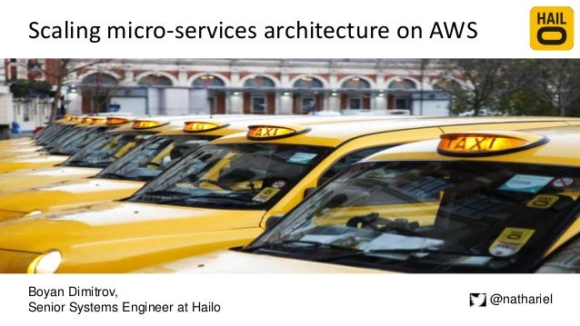 Scaling micro-services architecture on AWS Boyan Dimitrov, Senior Systems Engineer at Hailo @nathariel