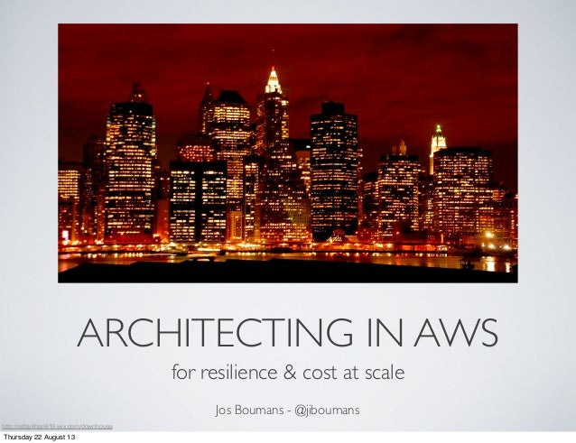 ARCHITECTING IN AWS for resilience & cost at scale Jos Boumans - @jiboumans http://rafaykhan619.wix.com/downhouse Thursday...