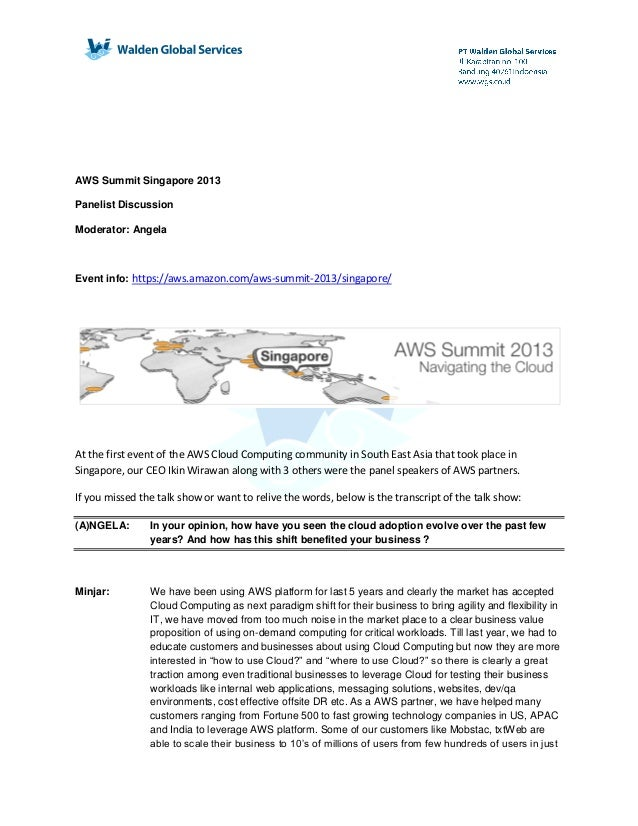 Aws summit singapore 2013   panelist discussion