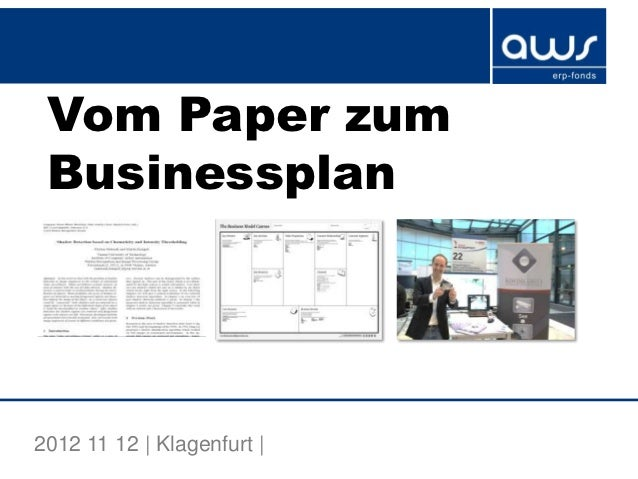 Vom Paper zum Businessplan2012 11 12 | Klagenfurt |