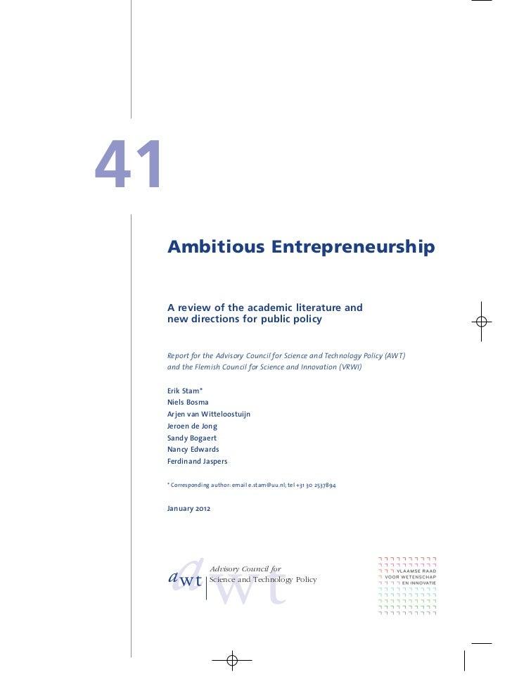 Ambitious entrepreneurship