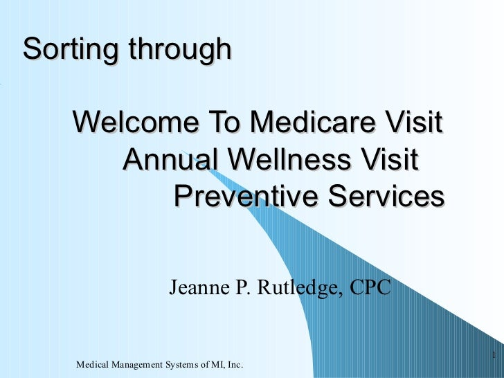 Sorting Through Medicare Annual Wellness Visits, the IPPE and Preventive Services