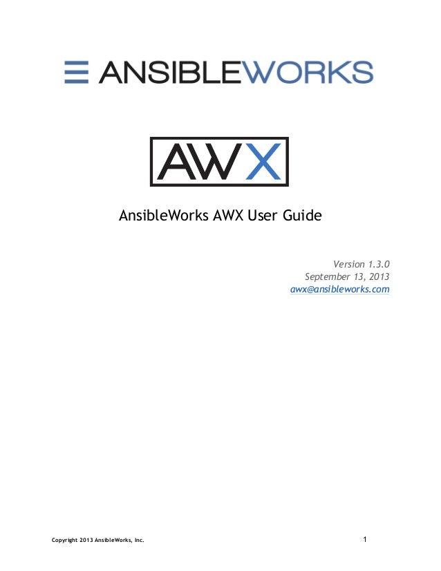 Awx user guide