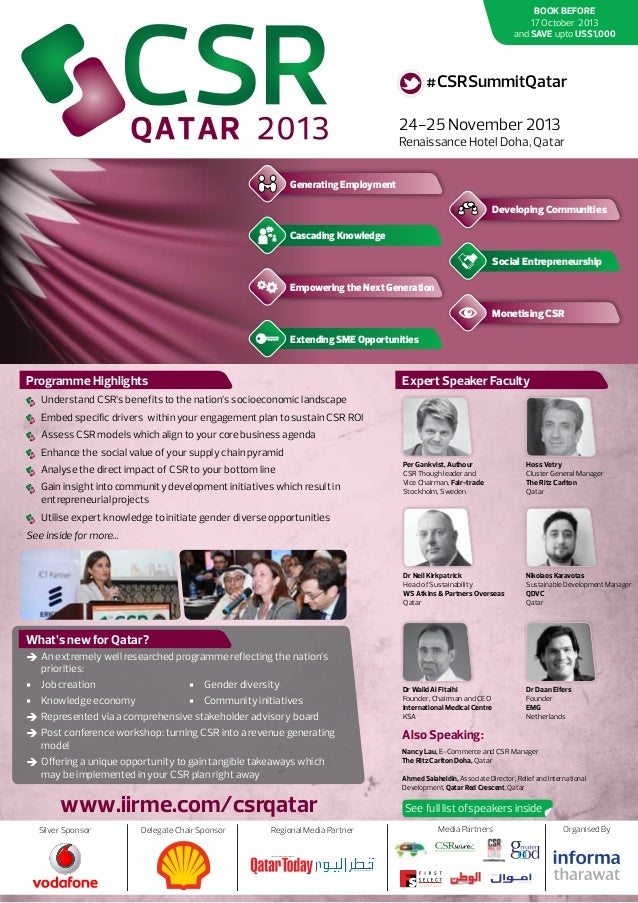 BOOK BEFORE 17 October 2013 and SAVE upto US$1,000  #CSRSummitQatar 24-25 November 2013  Renaissance Hotel Doha, Qatar Gen...