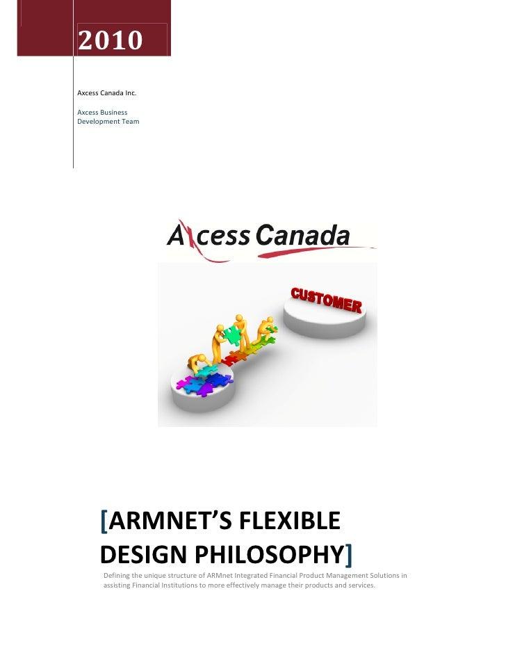 ARMnet Financial Product Management  Design Philosphy