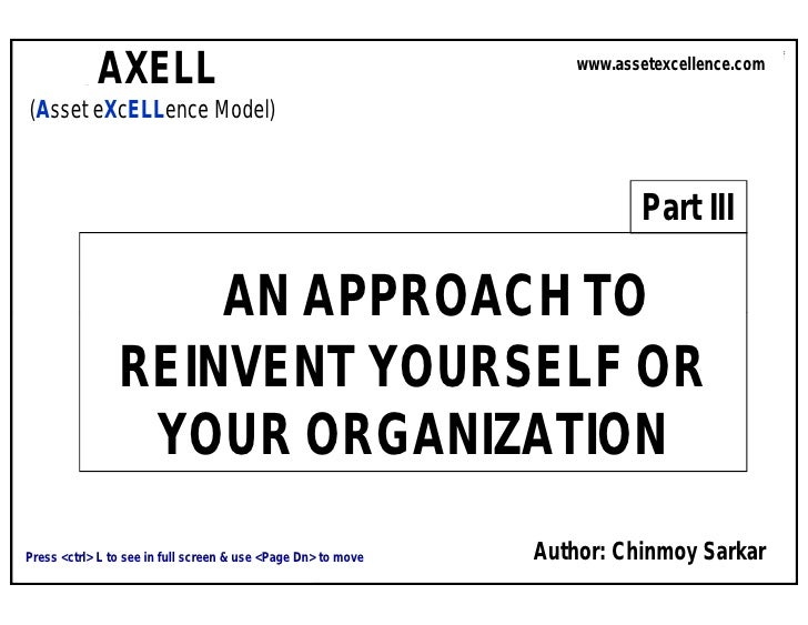 AXELL                                                                 Asset Excellence: An Approach to Reinvent Yourself  ...