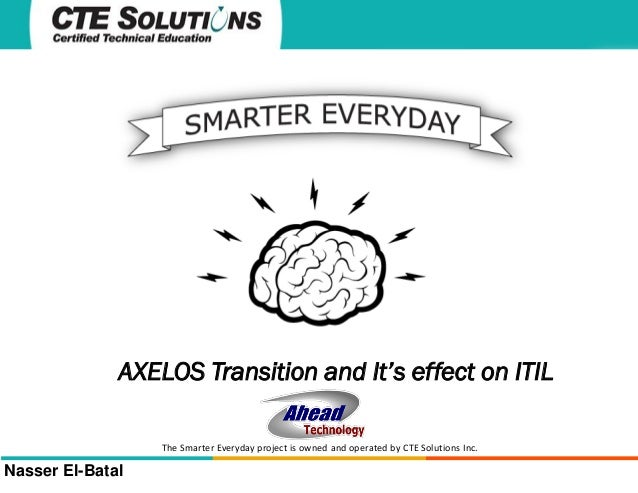 AXELOS Transition and It's effect on ITIL The Smarter Everyday project is owned and operated by CTE Solutions Inc.  Nasser...