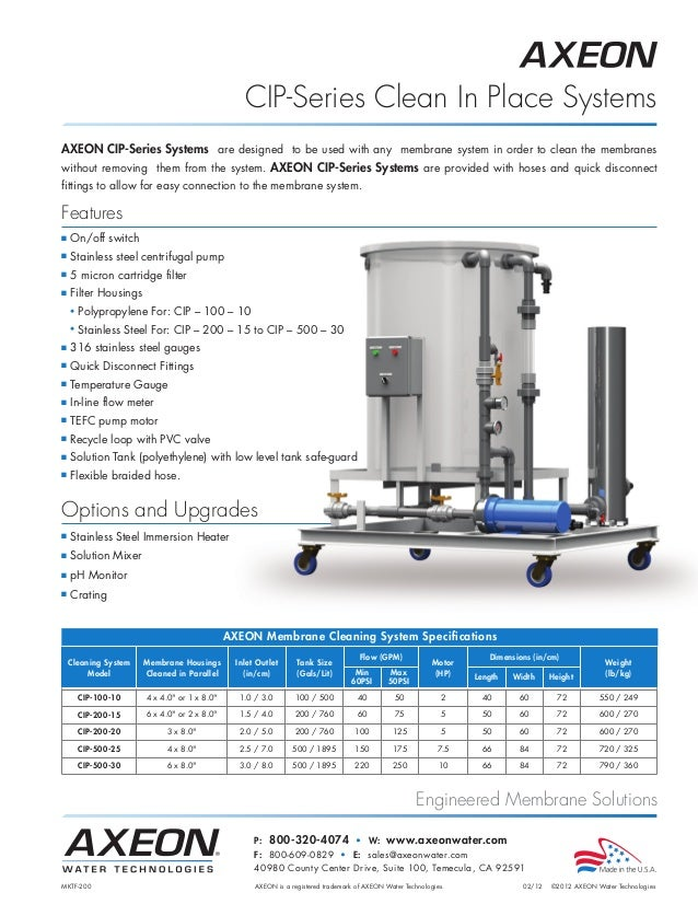 Engineered Membrane Solutions AXEON CIP-Series Systems are designed to be used with any membrane system in order to clean ...