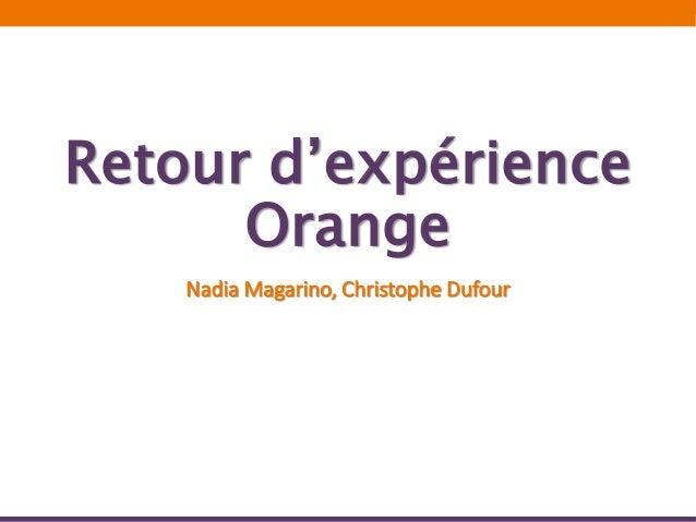 Retour d'expérience Orange Nadia Magarino, Christophe Dufour