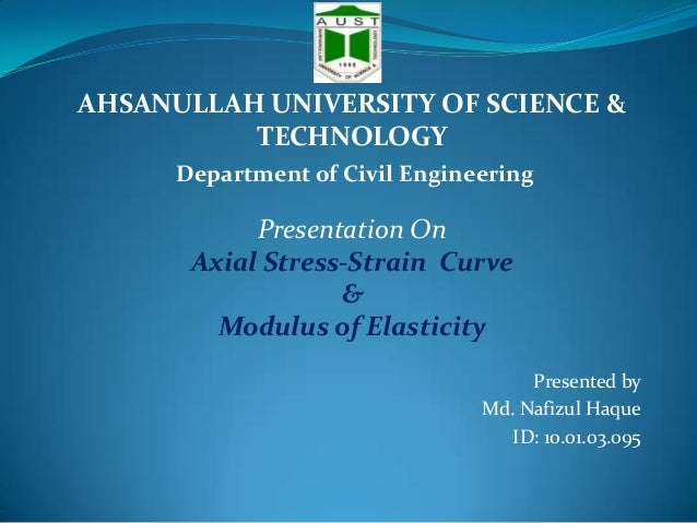 AHSANULLAH UNIVERSITY OF SCIENCE & TECHNOLOGY Department of Civil Engineering  Presentation On Axial Stress-Strain Curve &...