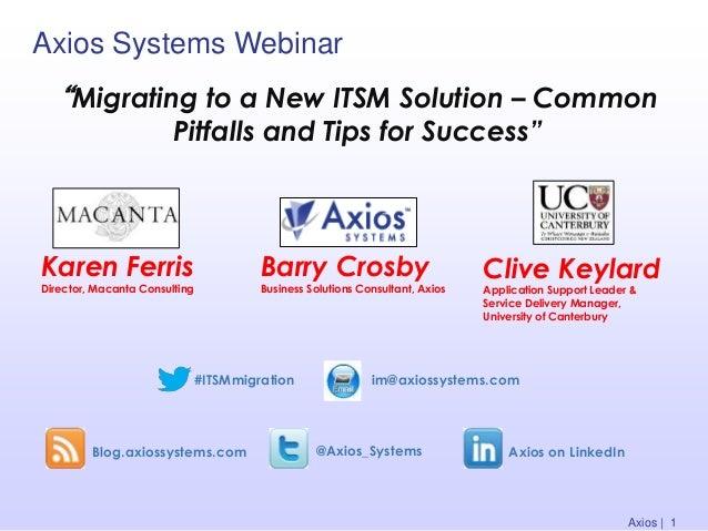 Axios Systems Webinar Blog.axiossystems.com @Axios_Systems Axios on LinkedIn Karen Ferris Director, Macanta Consulting Bar...