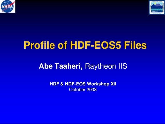 Profile of HDF-EOS5 Files Abe Taaheri, Raytheon IIS HDF & HDF-EOS Workshop XII October 2008