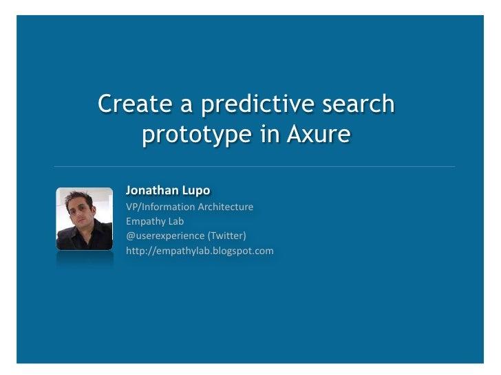 Axure Predictive Search Demo