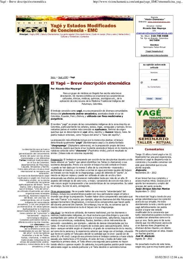 Ayahuasca   yagé – breve descripción etnomédica - ricardo diaz mayorga