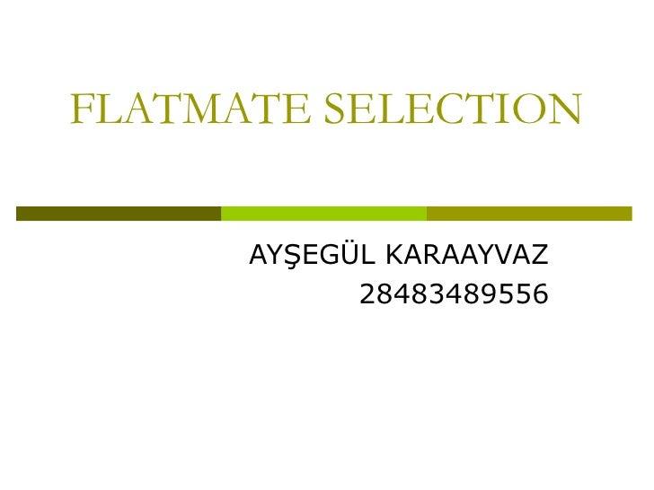 FLATMATE SELECTION AYŞEGÜL KARAAYVAZ 28483489556