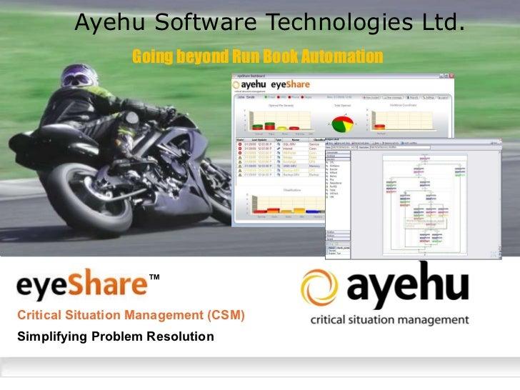 Ayehu Software Technologies Ltd. Critical Situation Management (CSM) Going beyond Run Book Automation Simplifying Problem ...