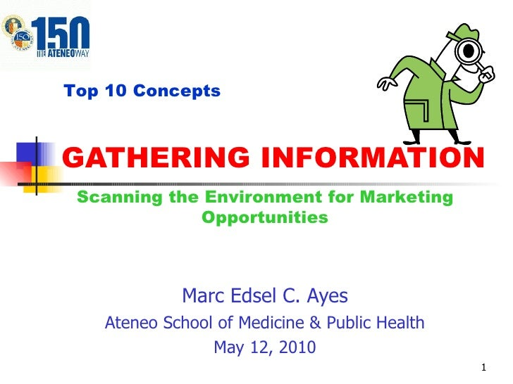 GATHERING INFORMATION Marc Edsel C. Ayes Ateneo School of Medicine & Public Health May 12, 2010 Top 10 Concepts Scanning t...