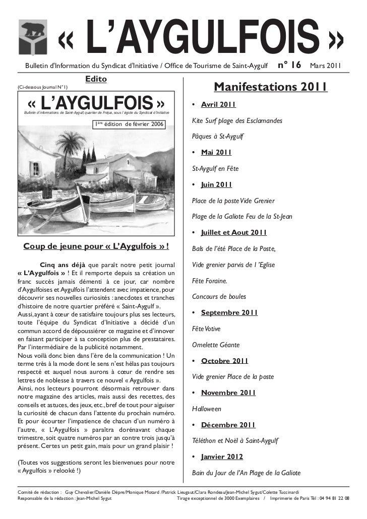 « L'AYGULFOIS »   Bulletin dlnformation du Syndicat dlnitiative / Office de Tourisme de Saint-Aygulf                      ...
