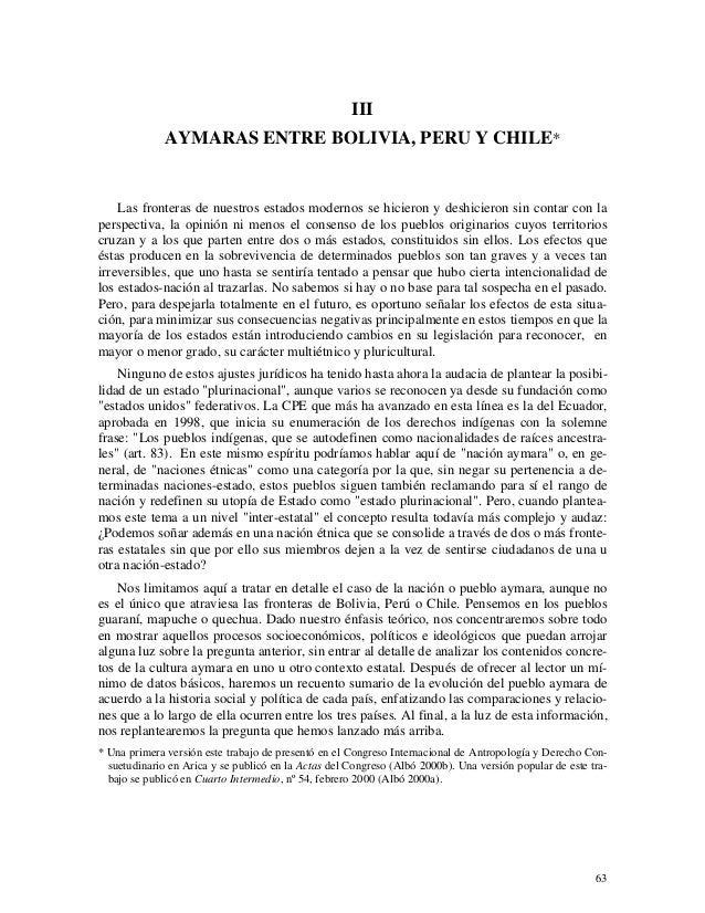 Aymaras entre Bolivia, Peru y Chile