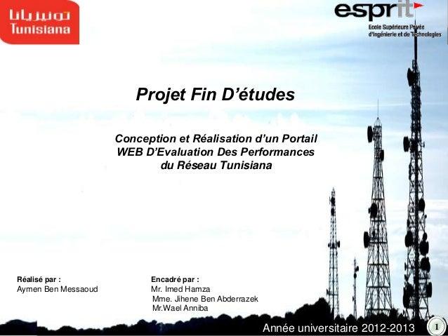 Conception et Réalisation d'un PortailWEB D'Evaluation Des Performancesdu Réseau TunisianaRéalisé par : Encadré par :Aymen...