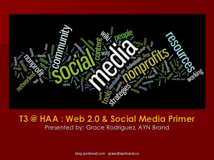 T3 @ HAA : Web 2.0 & Social Media Primer Presented by: Grace Rodriguez, AYN Brand wordle.net