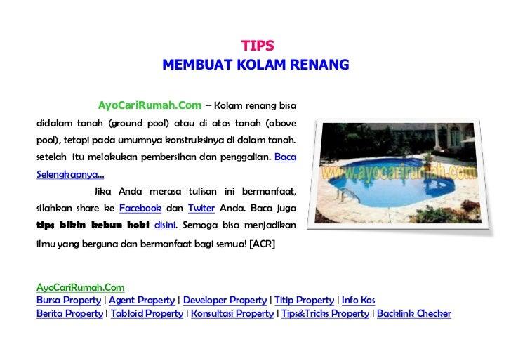 TIPS                             MEMBUAT KOLAM RENANG              AyoCariRumah.Com – Kolam renangbisa didalam tanah (grou...