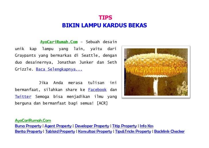 [AyoCariRumah.Com] Tips Bikin Lampu Kardus Bekas, Make Lights Used Cardboard