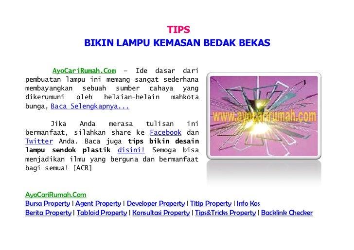 TIPS                    BIKIN LAMPU KEMASAN BEDAK BEKAS       AyoCariRumah.Com – Ide dasar daripembuatan lampu ini memang ...