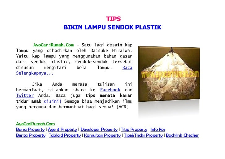 [AyoCariRumah.Com] Tips Bikin Lampu Sendok Plastik, Plastic Spoon to Make Lamps Design