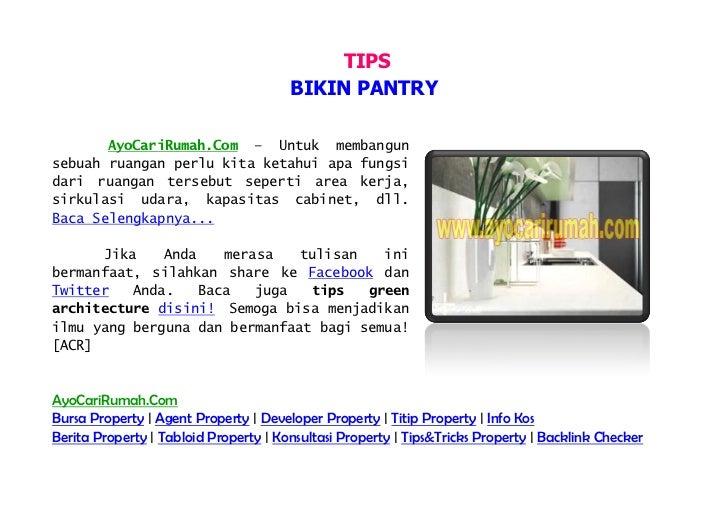 TIPS                                       BIKIN PANTRY       AyoCariRumah.Com – Untuk membangunsebuah ruangan perlu kita ...