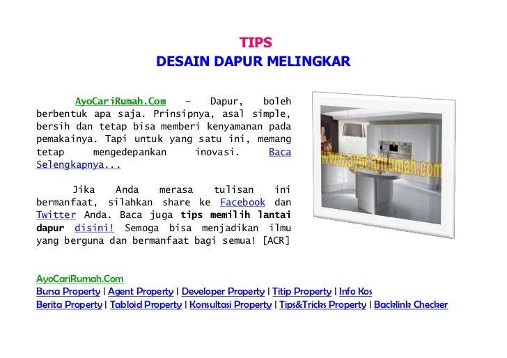 TIPS                            DESAIN DAPUR MELINGKAR       AyoCariRumah.Com   –    Dapur,   bolehberbentuk apa saja. Pri...