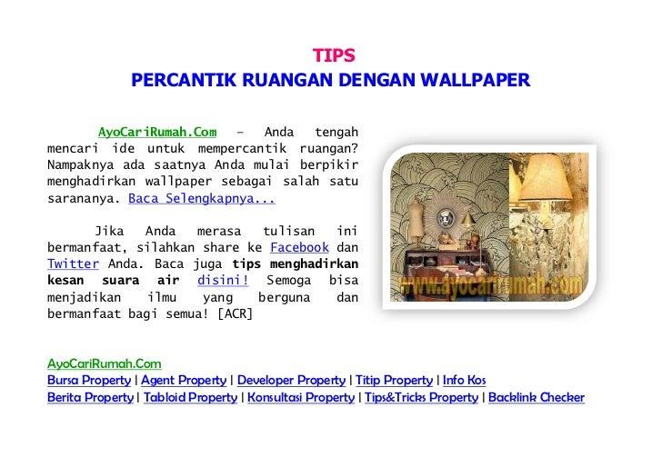TIPS               PERCANTIK RUANGAN DENGAN WALLPAPER       AyoCariRumah.Com   –  Anda  tengahmencari ide untuk mempercant...