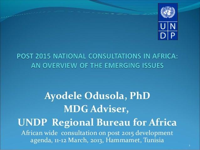 Ayodele Odusola, PhD       MDG Adviser,UNDP Regional Bureau for AfricaAfrican wide consultation on post 2015 development  ...