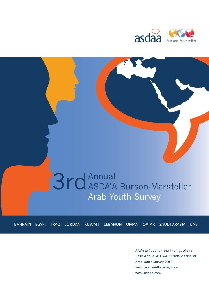 A White Paper on the findings of theThird Annual ASDA'A Burson-MarstellerArab Youth Survey 2010www.arabyouthsurvey.comwww....