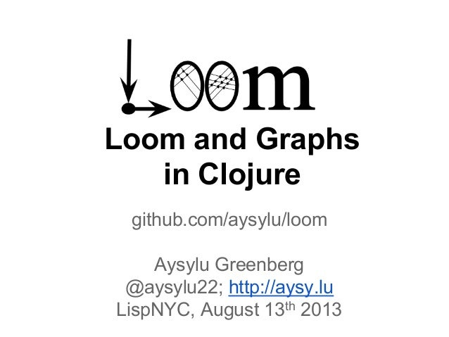 Loom and Graphs in Clojure github.com/aysylu/loom Aysylu Greenberg @aysylu22; http://aysy.lu LispNYC, August 13th 2013