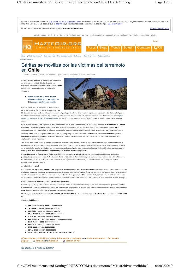 Cáritas se moviliza por las víctimas del terremoto en Chile   HazteOir.org                                                ...