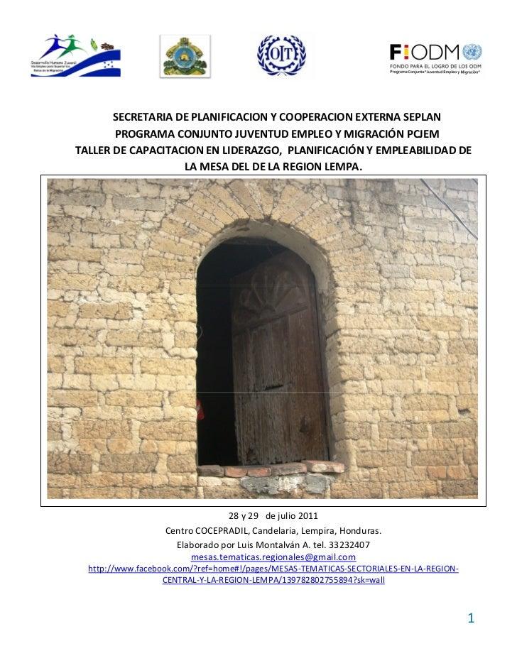 Ayuda Memoria Taller  de la MESA DEL DE LA REGION LEMPA en Candelaria 28 y 29 de julio