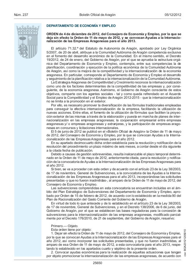 Núm. 237                          Boletín Oficial de Aragón                                    05/12/2012           DEPARTA...