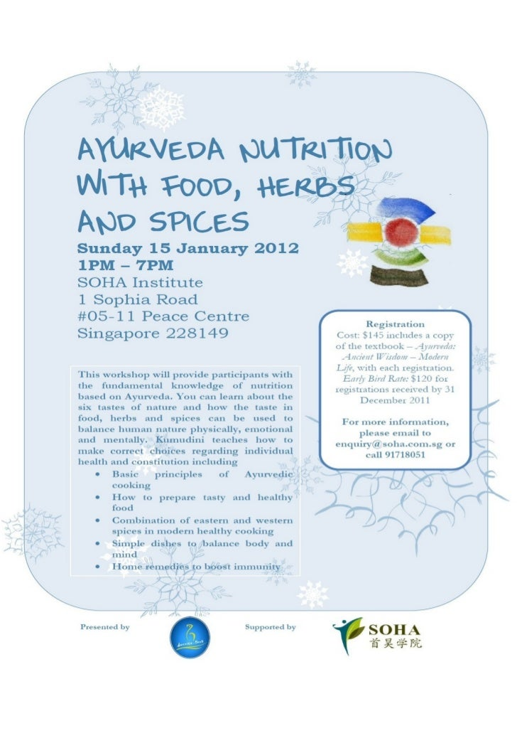Ayurveda Nutrition with Food, Herbs and Spices.